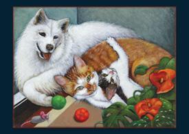 Husky Hugging Cats Card